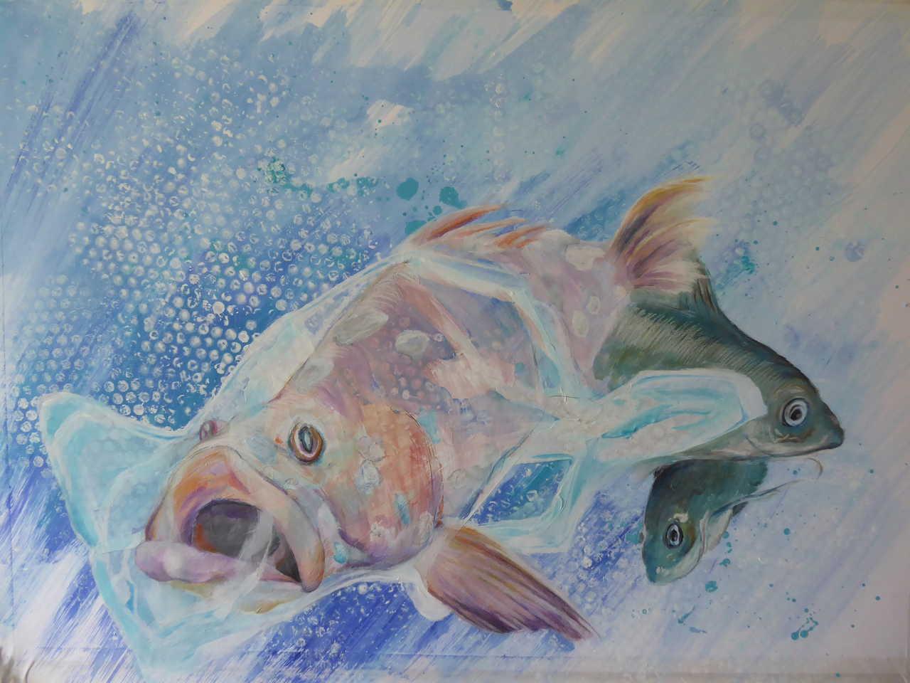 Blindfisch, Mischtechnik, 60 x 84 cm, 2019